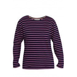 Classic Breton striped top in navy-fuchsia