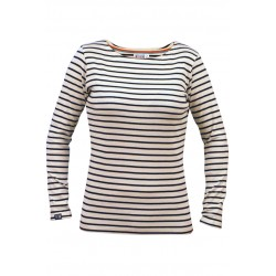 Breton striped top lady 20 with boat neck in natural-navy