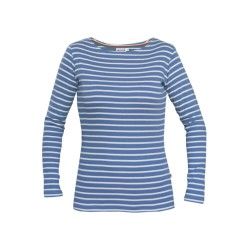 Breton striped top lady 20 with boat neck in jeans-natural